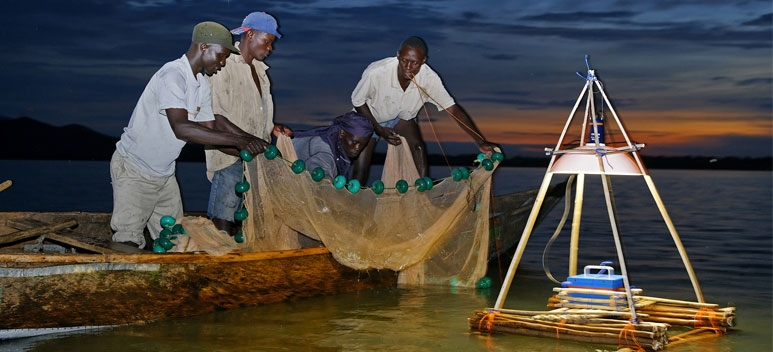 Light for Africa - fishermen with light on Lake Victoria